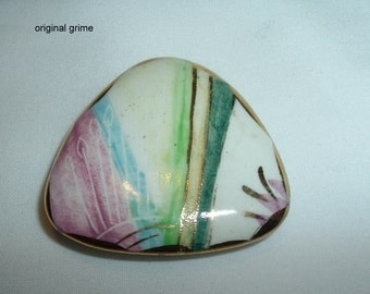 Victorian Hand Painted Colorful Brooch