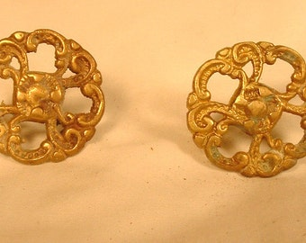 Pair of   Solid Bras Drawer Pulls