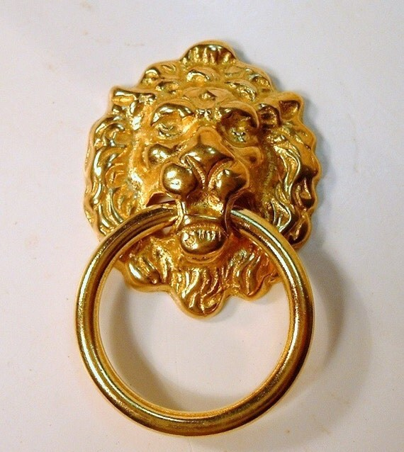 Set of 6 Solid Brass Lion Head Drawer Pulls