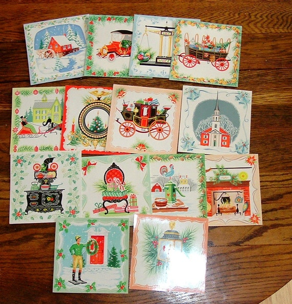 Group of 14 Vintage Christmas Tile Cards 4