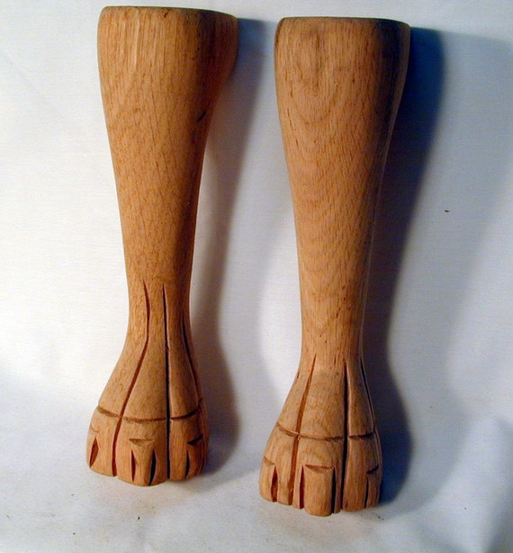 Pair of Solid Oak Claw Foot Legs