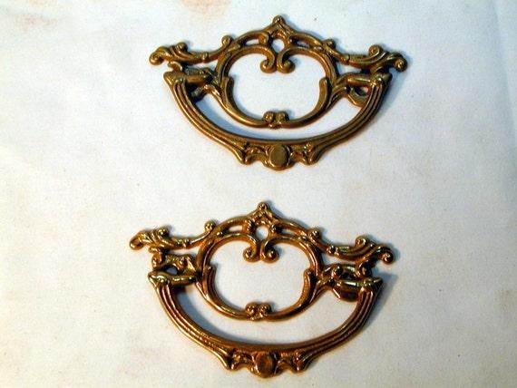 Pair of Fancy Cast Brass Drawer Handles