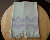 Vintage Mint Green/Violet Hawaiian Embroidery Guest Towel