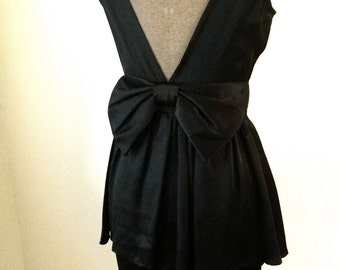 Vintage 1980's LBD with bow and peplum