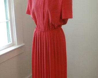 Vintage 1980's Bright Pink shirt dress US size 10