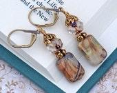 Gemstone Earrings Cair Paravel -Dangle Wire Gold Sparkle Jasper Earth Tones