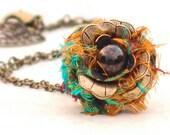 Boho Flower Choker Necklace Orange Turquoise Sari -Metal Floral Vintage Style Leaf Fairy Rose Brass