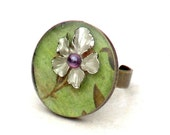 White Orchid Resin Adjustable Cocktail Ring -Metal Mint Green Flower Round