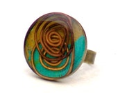 Turquoise and Orange Infinity Resin Cocktail Ring -Adjustable Metal Modern Abstract Round