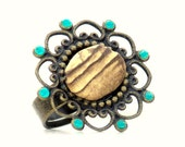 Rustic River Stone Cocktail Ring -Pebble Rock Woodland Large Adjustable Blue