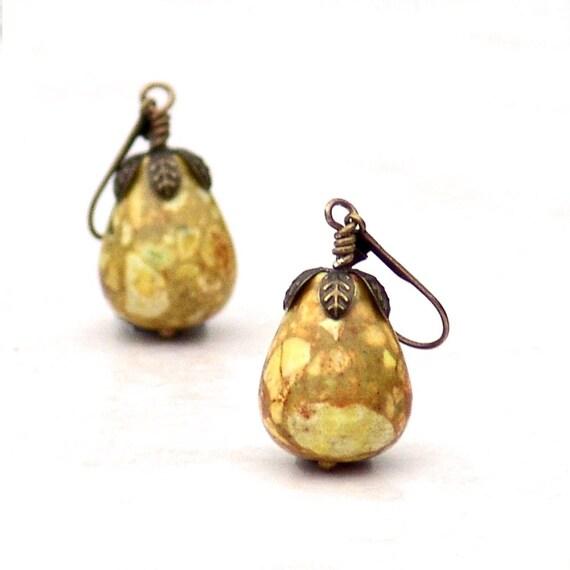 Pear Gemstone Earrings -Fruit Wire Dangle Yellow Saffron Mosaic Leaves Brass Metal