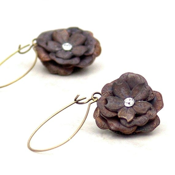 Metal Flower Earrings Fairy Rose Glam -Long Dangle Patina Floral