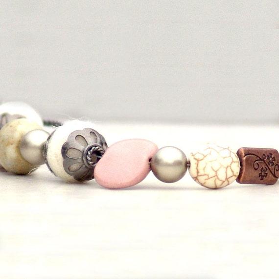 Mixed Media Bracelet Winter Tokens -Silver Adjustable White Pink Fiber Pearl Gemstone Ceramic Copper Gunmetal