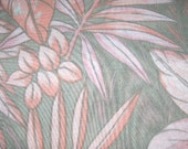 4 YARDS Peach, Pink, and Gray Vintage Fabric Large Floral Print TROPICAL