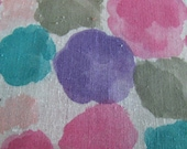 Beautiful Floral Print on Linen Weave Cotton Pink Purple Teal