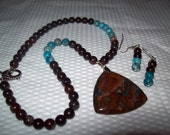Serenity  Blue Crazy Lace Agate Necklace and Earring Set   FREE SHIPPING