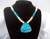 Jessica - Blue Crazy Lace Agate Gemstone Necklace and Earring Set   FREE SHIPPING