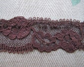 """Rich Cocoa Brown Stretch Lace Remnant 1"""" Wide"""