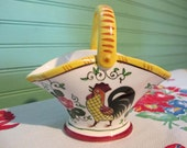 Roosters and Roses, UCAGCO China, Pottery Basket, Mid Century Decor, Kitchen Red Yellow United China and Glass company