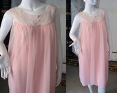 Vintage Nylon Nightgown, 60s Pink Nightie, Lace and Chiffon, Mid Century Fashion