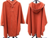 Vintage Wool Poncho, Thick Wool 70s Hooded Cape, Cloak Poncho, Mid Century Hippie Fashion