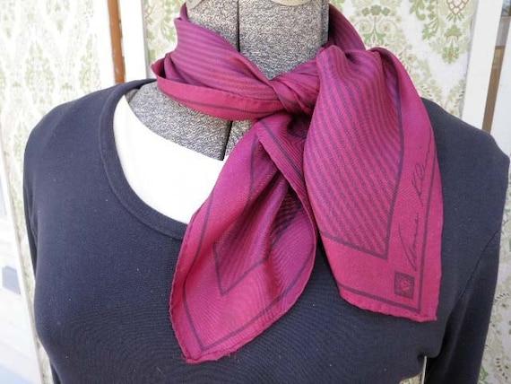 Anne Klein Silk Scarf in a Burgundy and Black Stripes