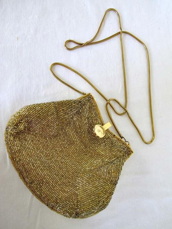 Carla Marchi Evening Bag, Vintage Gold Beaded Purse, Mid Century Fashion