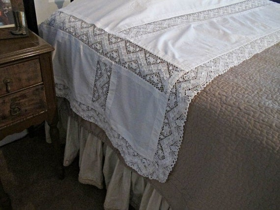 Antique Lace Pillow Sheet Vintage Bedding Lace Pillow