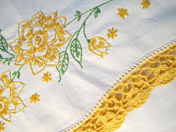 Vintage Pillowcase, Embroidered Pillowcase, Crocheted Gold Lace Trim, Cottage Chic, Yellow Floral, Single Pillowcase
