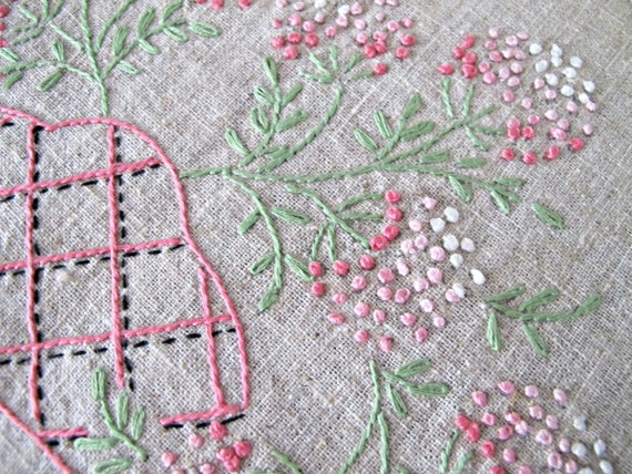 Vintage Embroidered Dresser Scarf, French Knot Embroidery, Natural Linen Scarf, Hand Embellished Textile