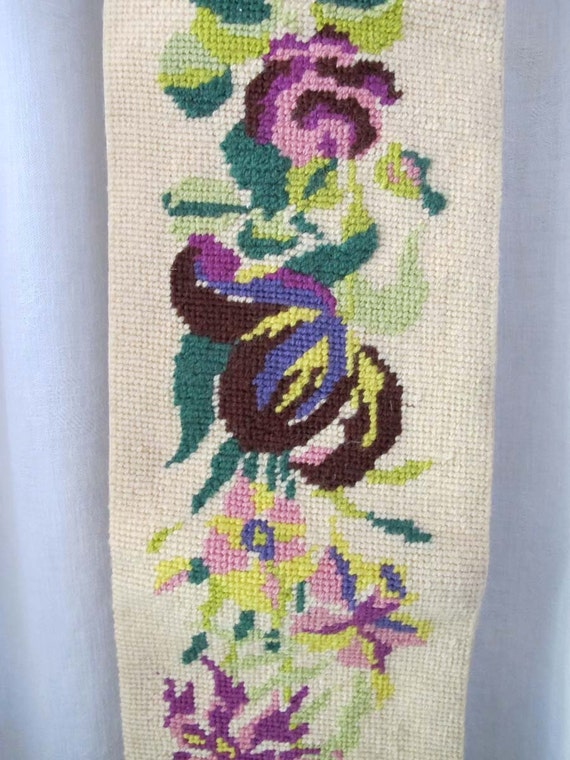 Vintage Wool Needlepoint, Handmade Bell Pull, Purple Blue and Green Floral Motif