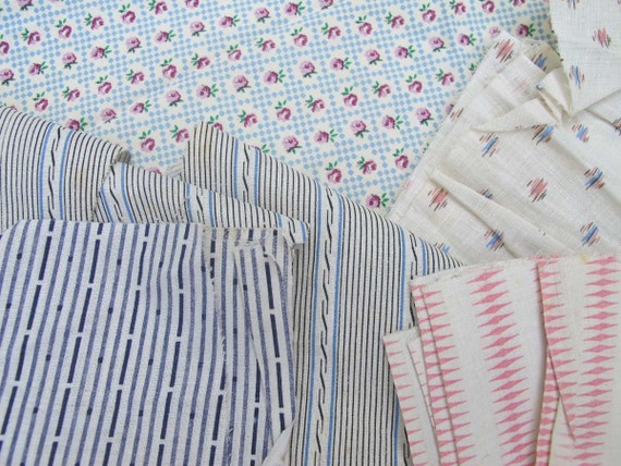 40s Textile, Vintage Cotton Remnants, Quilt Repair Fabric, Shirt Dress Weight Cotton, Sewing Room Scraps