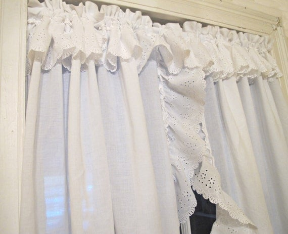 White Organza Eyelet Priscilla Curtains Pair Ruffled Tie Back