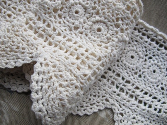 Cotton Crocheted Lace Trim 8 Inch Wide