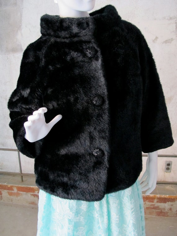 Vintage Fake Fur Topper, Black Faux Fur Topper, Small Jacket, Evening Wrap, Styled by Winter