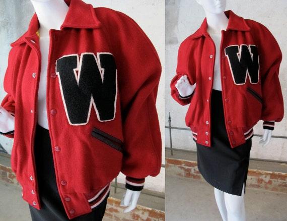 Vintage Varsity Jacket, 50s Red Letterman Jacket, Black LeatherTrim, Black Letter W, High School Football, Sports Collectible