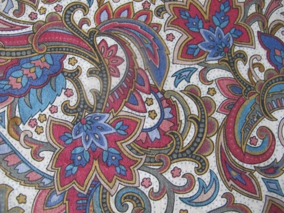 RESERVED for BARB Vintage 80s Jacobean Print, Burgundy and Blue Cotton, Medium Weight Drapery Upholstery Fabric Remnant 1988