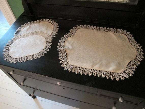 Vintage Dressing Table Set Tatting Linen Dresser Set Ecru