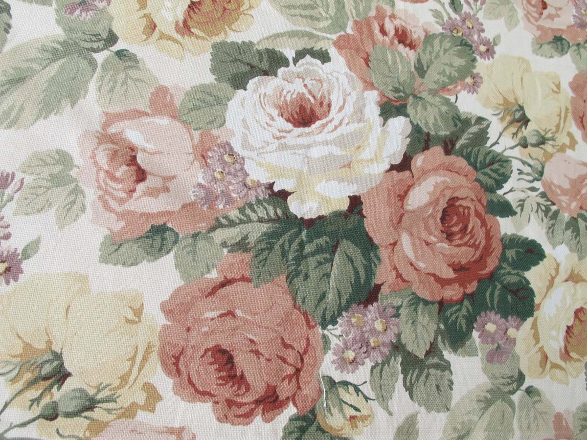 Vintage Drapery Fabric Pink And Yellow Cabbage Roses Mill