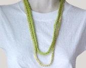 Sale Green Crochet Fiber Jewelry Duo Necklace Bracelet Minimalism Set Peace Seeds Boutique