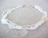 "Double strand white shell bracelet  stone glass  7-1/2"" OOAK"