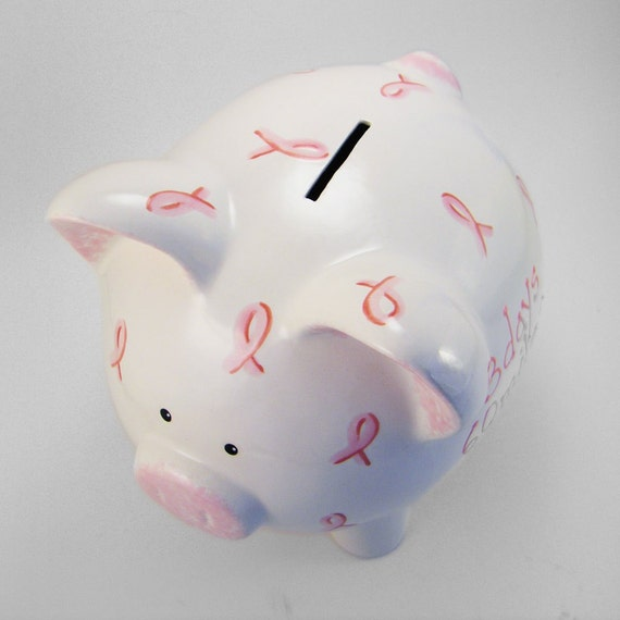 Ceramic Ribbon Piggy Bank Personalized Free