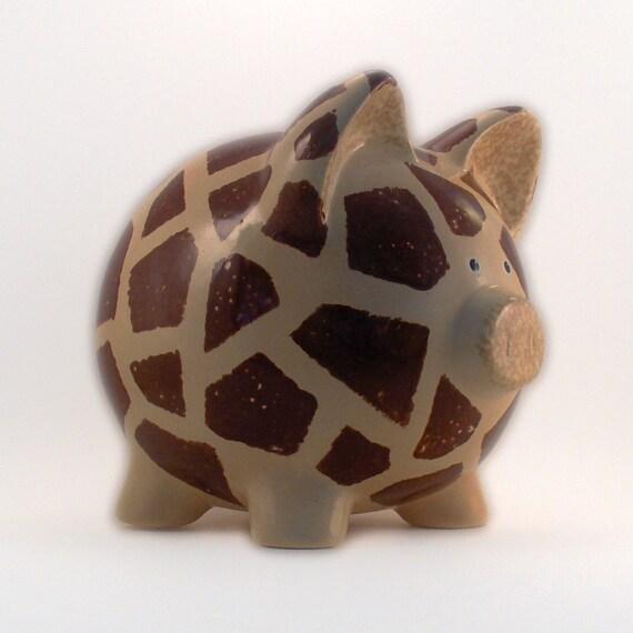 Ceramic Giraffe Piggy Bank -  Personalized FREE