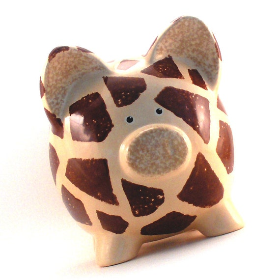 Personalized Piggy Bank - Giraffe - Ceramic - with hole in bottom - Ready to Ship