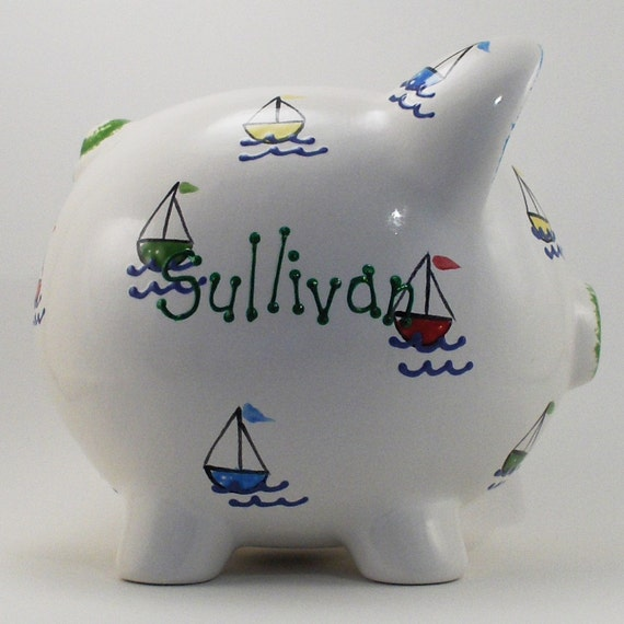 Ceramic sailboat piggy bank personalized free - Nautical piggy banks ...