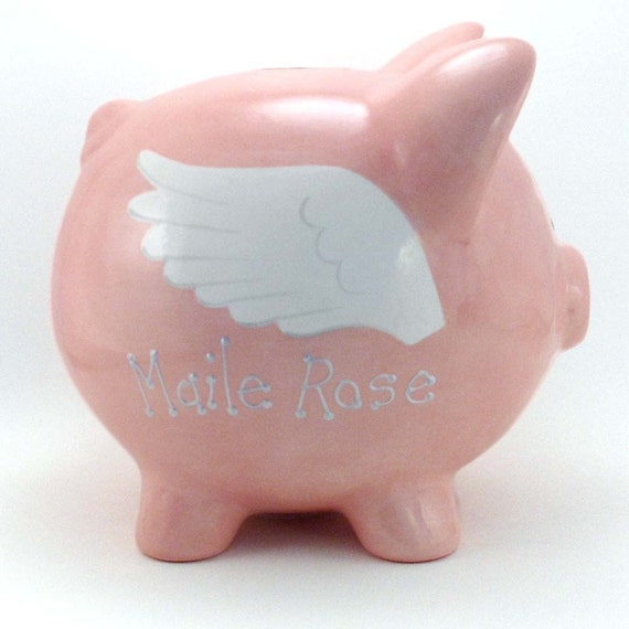 Ceramic Flying Pig Piggy Bank Personalized Free
