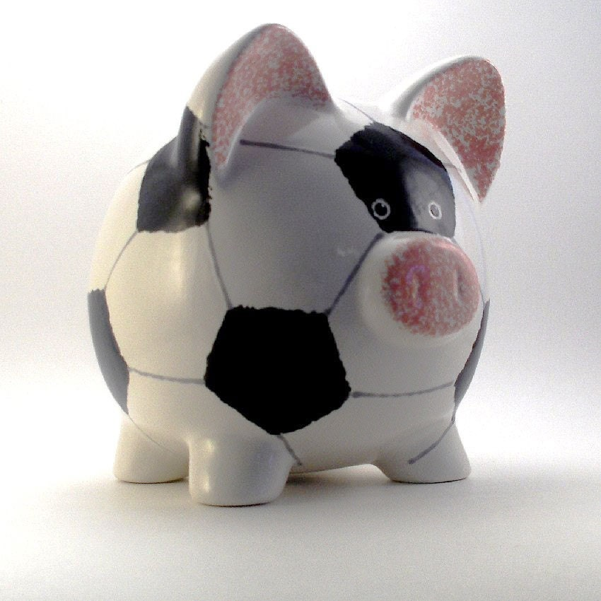 Ceramic Soccer Ball Piggy Bank Personalized Free