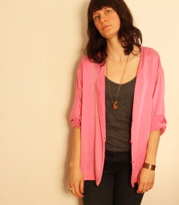 ON HOLD// hot pink silk blouse