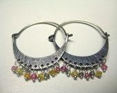 Sterling Silver hoop earrings, multi color sapphire beads