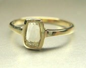 Reserved Listing for Marty. 14k yellow gold engagement ring, white rose cut sapphire.